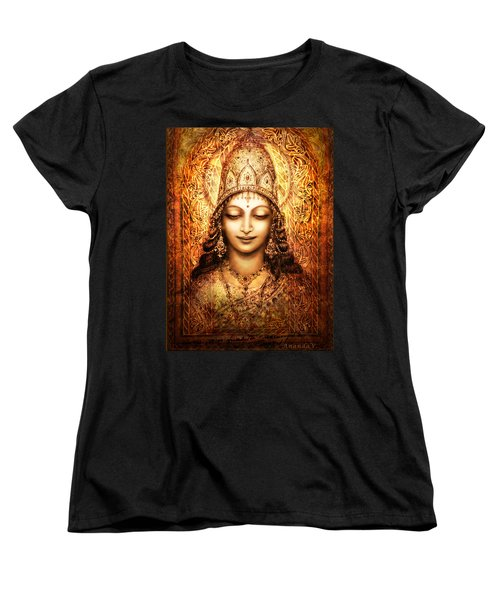 Women's T-Shirt (Standard Cut) featuring the mixed media Blissful Goddess by Ananda Vdovic