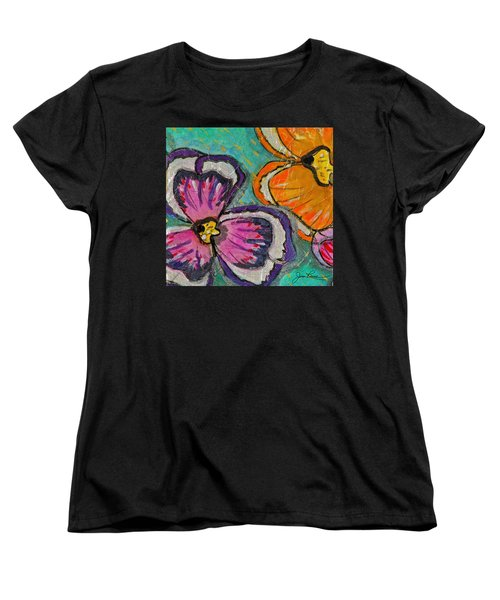 Women's T-Shirt (Standard Cut) featuring the painting Blooming Flowers by Joan Reese