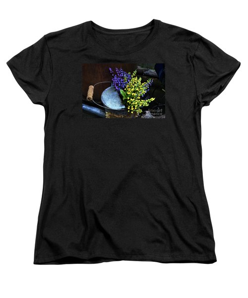 Blue And Yellow Flowers Women's T-Shirt (Standard Cut) by Mary Machare