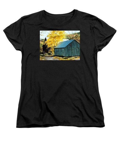Blue Barn Women's T-Shirt (Standard Cut) by Barbara Jewell