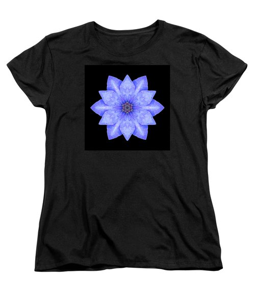 Blue Clematis Flower Mandala Women's T-Shirt (Standard Cut) by David J Bookbinder