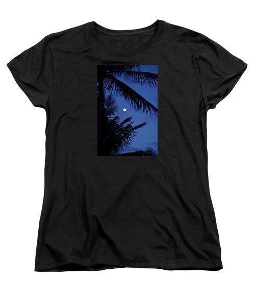Women's T-Shirt (Standard Cut) featuring the photograph Blue Dawn Moon by Lehua Pekelo-Stearns