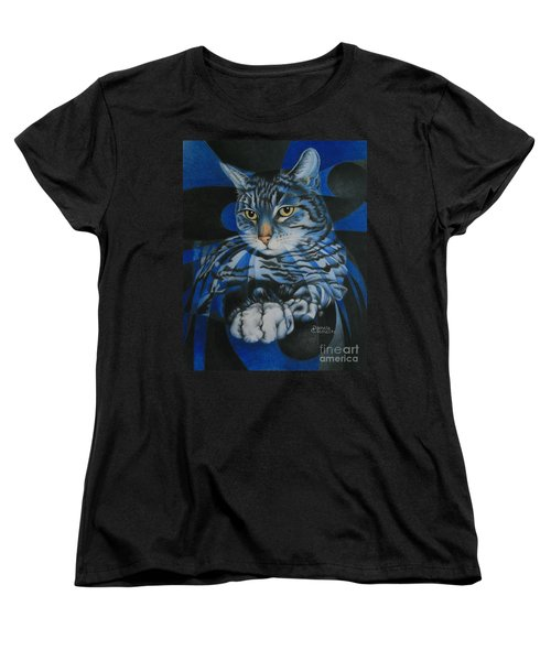 Women's T-Shirt (Standard Cut) featuring the painting Blue Feline Geometry by Pamela Clements