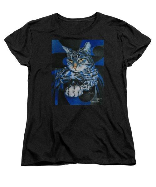 Blue Feline Geometry Women's T-Shirt (Standard Cut)