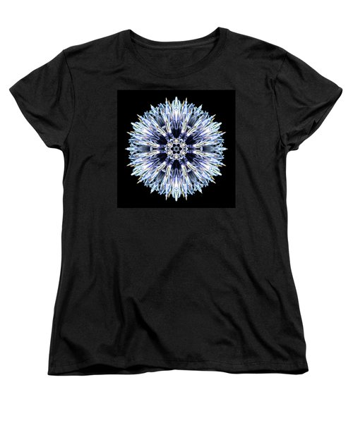 Blue Globe Thistle Flower Mandala Women's T-Shirt (Standard Cut) by David J Bookbinder