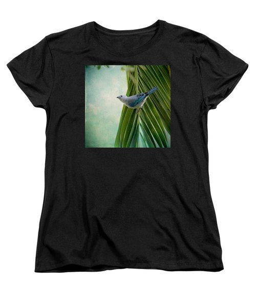 Blue Grey Tanager On A Palm Tree Women's T-Shirt (Standard Cut) by Peggy Collins