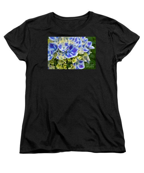Women's T-Shirt (Standard Cut) featuring the photograph Blue Harlequin Hydrandea Flower by Valerie Garner