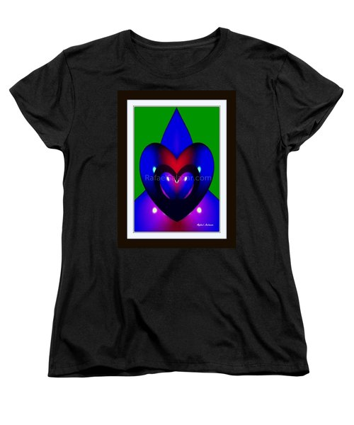 Women's T-Shirt (Standard Cut) featuring the painting Blue Hearts by Rafael Salazar