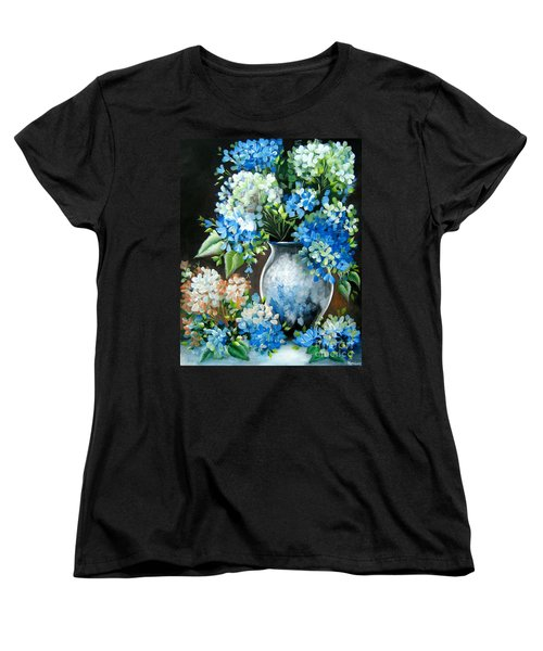 Women's T-Shirt (Standard Cut) featuring the painting Blue Hydrangeas by Patrice Torrillo