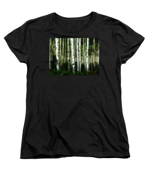 Women's T-Shirt (Standard Cut) featuring the photograph Blue Mood Aspens I by Lanita Williams