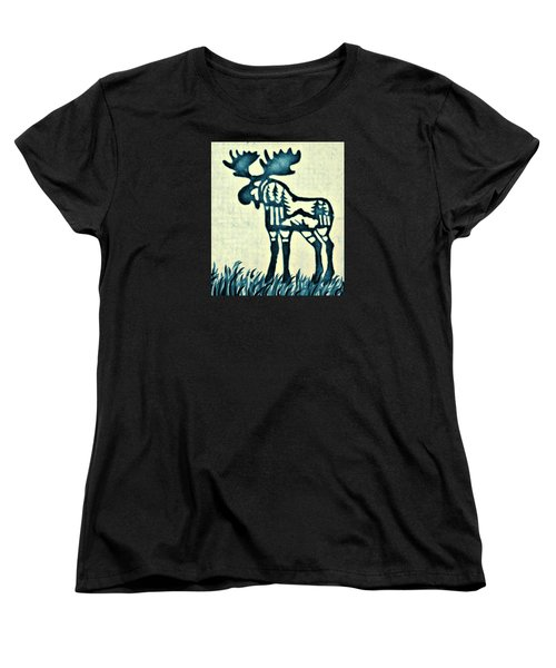 Women's T-Shirt (Standard Cut) featuring the pyrography Blue Moose by Larry Campbell