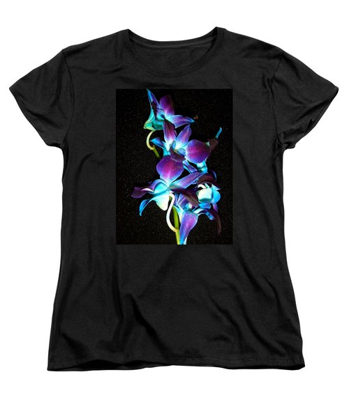 Blue Orchids Women's T-Shirt (Standard Cut) by Stephanie Moore
