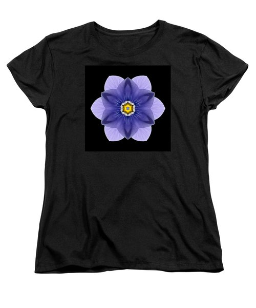 Blue Pansy I Flower Mandala Women's T-Shirt (Standard Cut) by David J Bookbinder