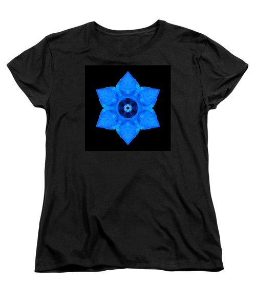 Blue Pansy II Flower Mandala Women's T-Shirt (Standard Cut) by David J Bookbinder