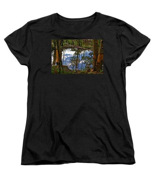 Women's T-Shirt (Standard Cut) featuring the photograph Blue Sky Reflecting by Jeremy Rhoades