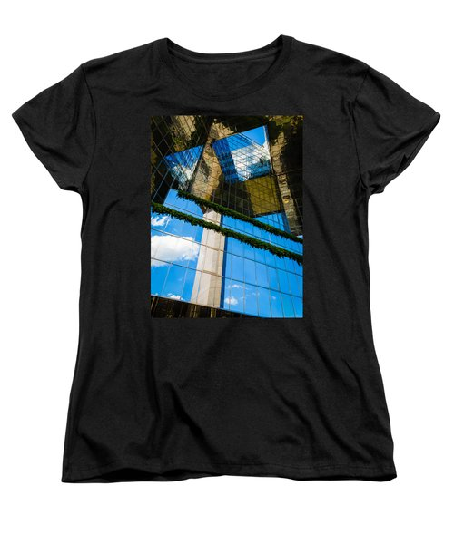 Women's T-Shirt (Standard Cut) featuring the photograph Blue Sky Reflections On A London Skyscraper by Peta Thames