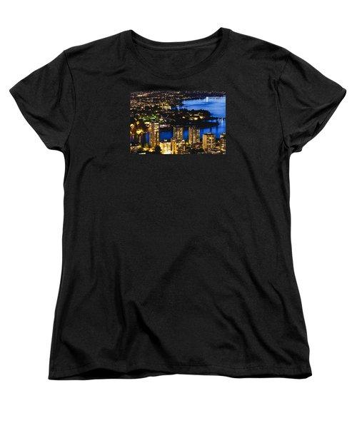 Women's T-Shirt (Standard Cut) featuring the photograph Blue Water Kitsilano Beach Mcdix by Amyn Nasser
