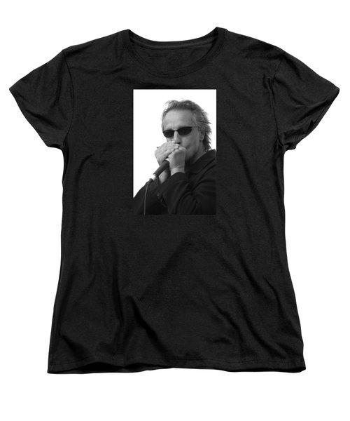 Bluesman James Montgomery Women's T-Shirt (Standard Cut) by Mike Martin