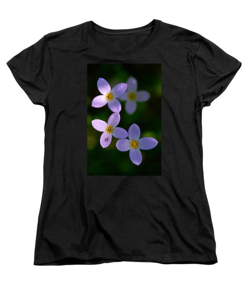 Women's T-Shirt (Standard Cut) featuring the photograph Bluets With Aphid by Marty Saccone