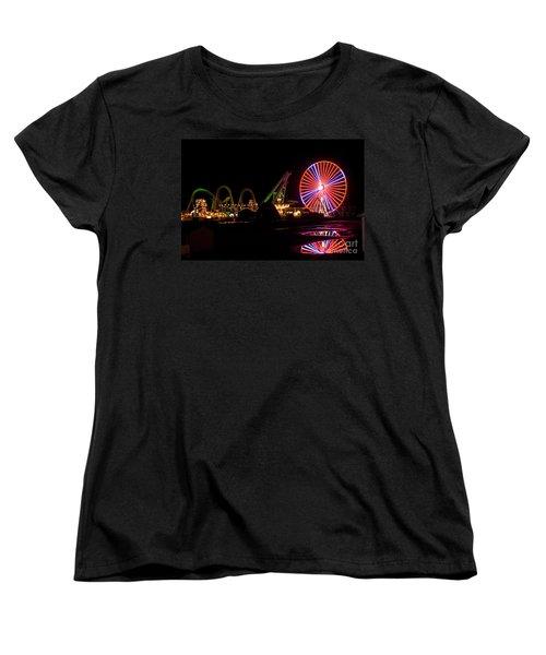 Women's T-Shirt (Standard Cut) featuring the photograph Boardwalk Night by Greg Graham