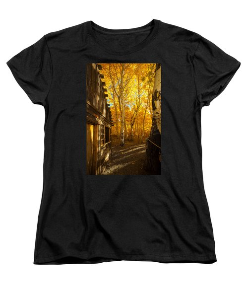 Boat House Among The Autumn Leaves  Women's T-Shirt (Standard Cut) by Jerry Cowart
