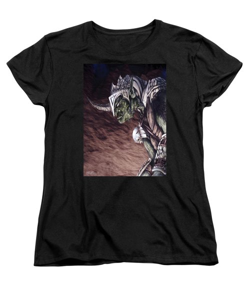 Women's T-Shirt (Standard Cut) featuring the mixed media Bolg The Goblin King 2 by Curtiss Shaffer