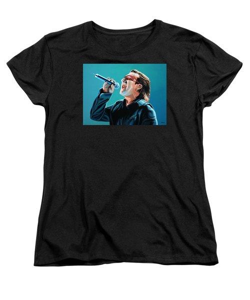 Bono Of U2 Painting Women's T-Shirt (Standard Cut) by Paul Meijering