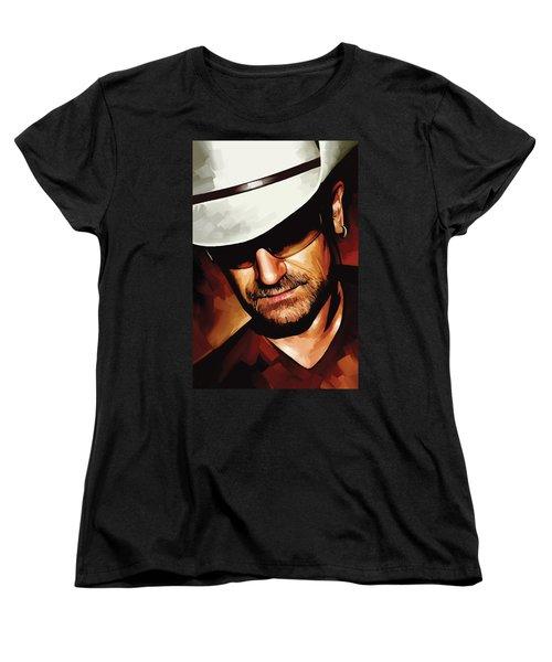 Bono U2 Artwork 3 Women's T-Shirt (Standard Cut) by Sheraz A