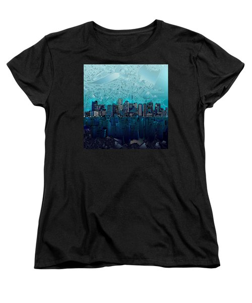 Boston Skyline Abstract Blue Women's T-Shirt (Standard Cut) by Bekim Art