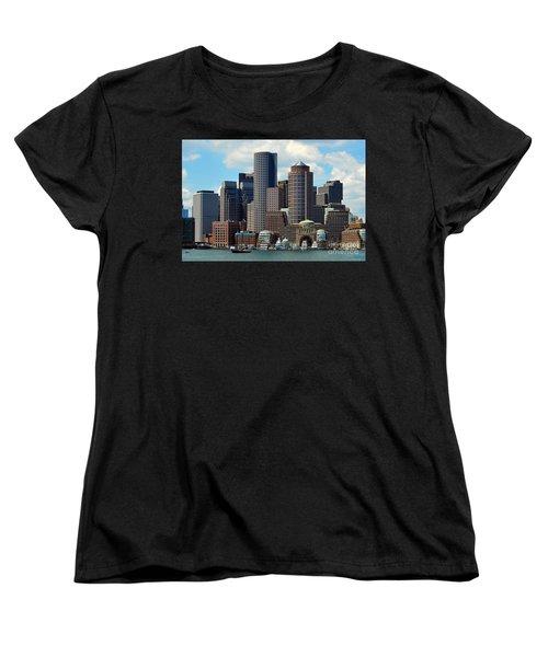 Women's T-Shirt (Standard Cut) featuring the photograph Boston Skyline by Randi Grace Nilsberg