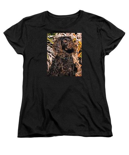 Boykin Spaniel Portrait Women's T-Shirt (Standard Cut) by Timothy Flanigan