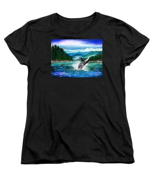 Breaching Humpback Whale Women's T-Shirt (Standard Cut) by Patricia L Davidson