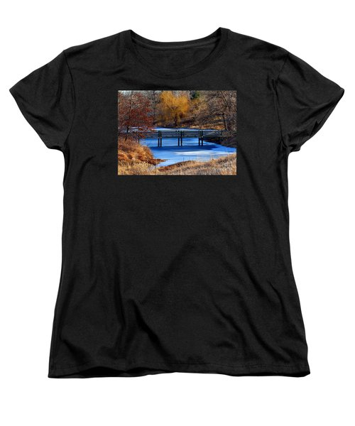 Women's T-Shirt (Standard Cut) featuring the photograph Bridge Over Icy Waters by Elizabeth Winter