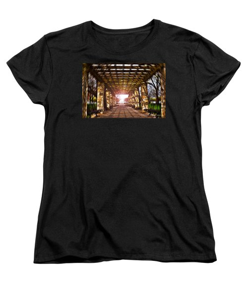 Women's T-Shirt (Standard Cut) featuring the photograph Bridge To The Light From The Series The Imprint Of Man In Nature by Verana Stark