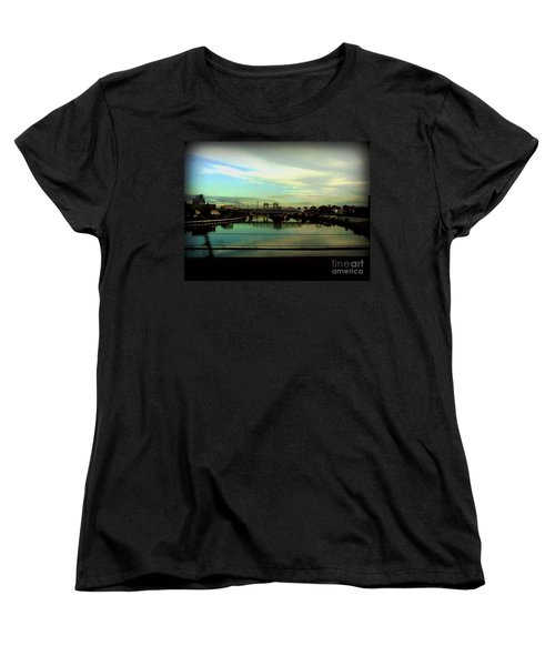 Women's T-Shirt (Standard Cut) featuring the photograph Bridge With White Clouds by Miriam Danar