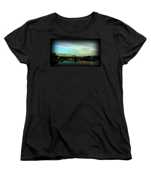 Women's T-Shirt (Standard Cut) featuring the photograph Bridge With White Clouds Vignette by Miriam Danar