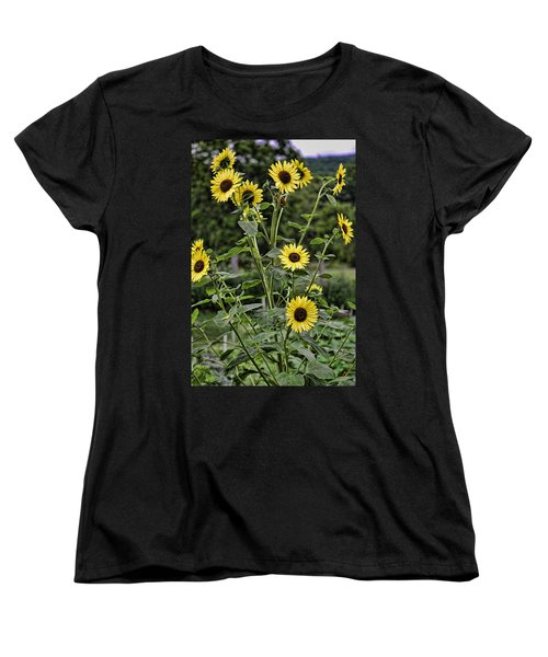 Bright Sunflowers Women's T-Shirt (Standard Cut) by Denise Romano