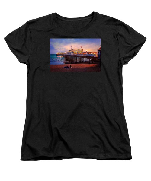 Women's T-Shirt (Standard Cut) featuring the photograph Brighton's Palace Pier At Dusk by Chris Lord