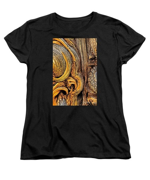 Women's T-Shirt (Standard Cut) featuring the photograph Bristlecone Pine Bark Detail White Mountains Ca by Dave Welling