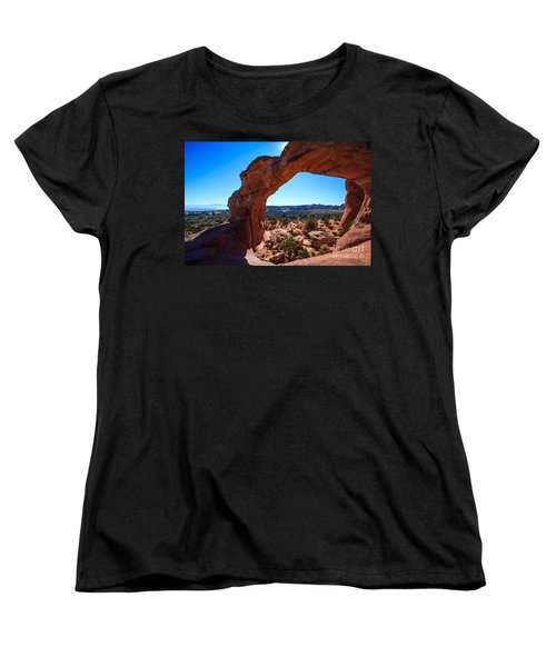 Women's T-Shirt (Standard Cut) featuring the photograph Broken Arch Under Blue Sky by Peta Thames