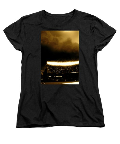 Women's T-Shirt (Standard Cut) featuring the tapestry - textile Bronx Storm Yankee Stadium  by Iconic Images Art Gallery David Pucciarelli
