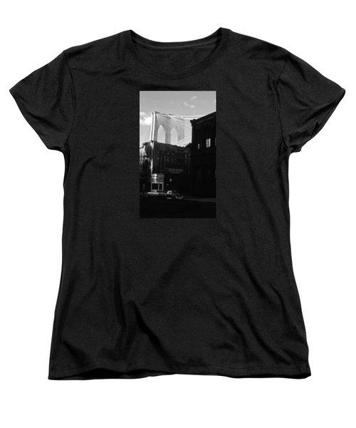 Women's T-Shirt (Standard Cut) featuring the photograph Brooklyn Bridge 1970 by John Schneider