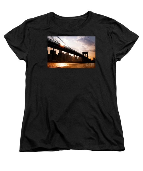 Brooklyn Bridge And Skyline Manhattan New York City Women's T-Shirt (Standard Cut) by Sabine Jacobs