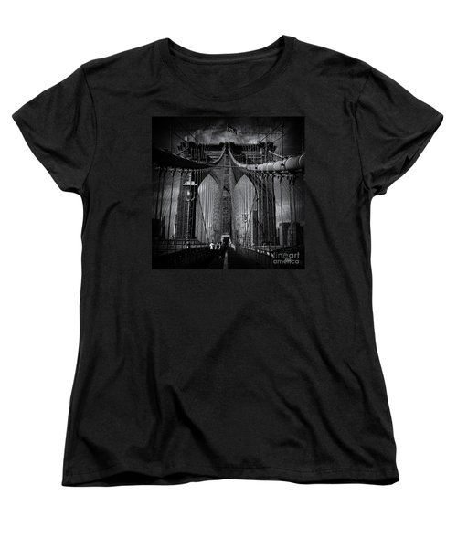 Brooklyn Bridge Up Close New York City Women's T-Shirt (Standard Cut) by Sabine Jacobs