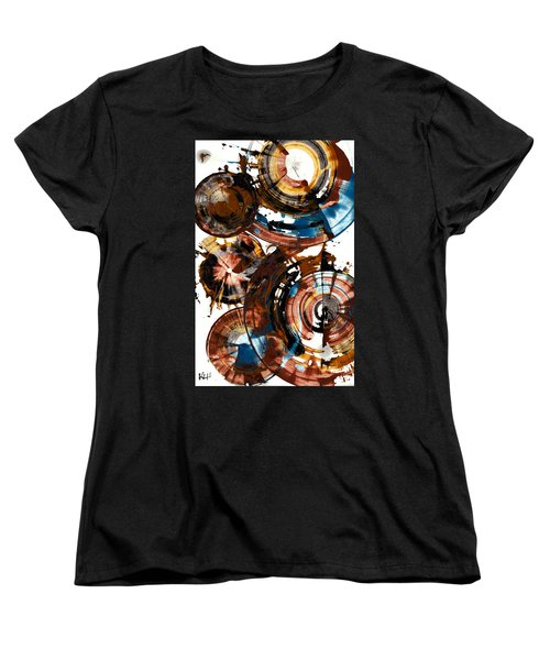 Women's T-Shirt (Standard Cut) featuring the painting Brown And Blue Spherical Joy - 992.042212 by Kris Haas