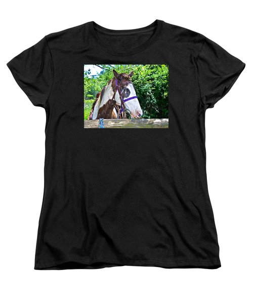 Women's T-Shirt (Standard Cut) featuring the photograph Brown And White Horse by Susan Leggett