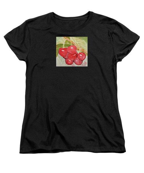 Bunch Of Red Cherries Women's T-Shirt (Standard Cut) by Elvira Ingram