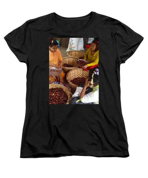 Women's T-Shirt (Standard Cut) featuring the photograph Burmese Ladies Sorting Water Chestnuts Zay Cho Street Market 29th Street Mandalay Burma by Ralph A  Ledergerber-Photography
