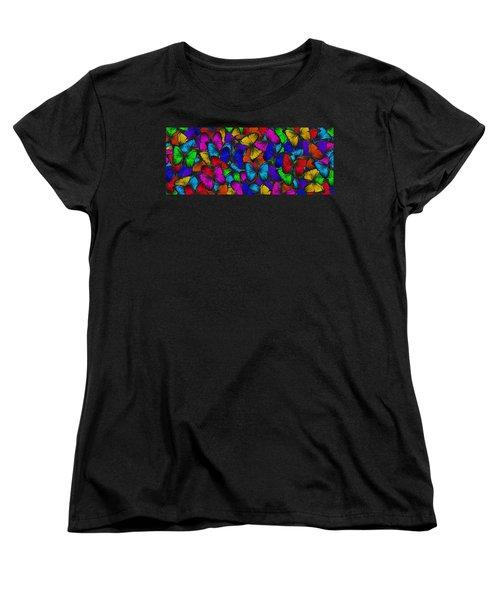 Women's T-Shirt (Standard Cut) featuring the photograph Butterflies In Flight Panorama by Kyle Hanson
