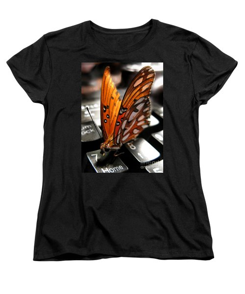 Women's T-Shirt (Standard Cut) featuring the photograph Butterfly Home At 7 by Jennie Breeze